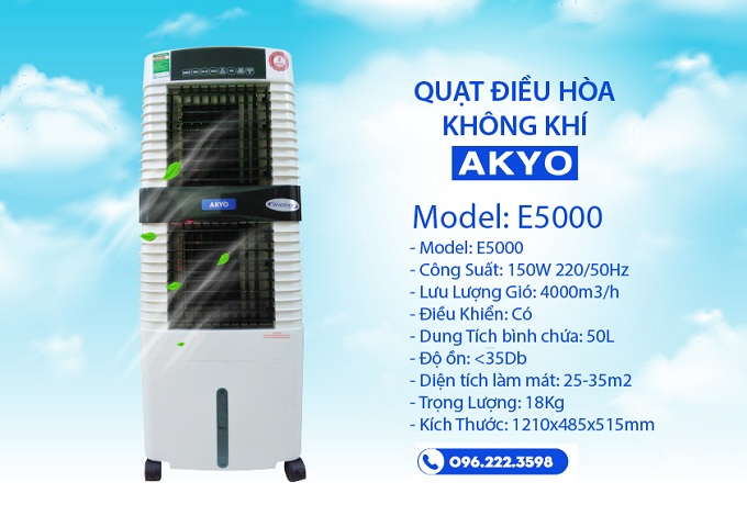 Quạt điều hòa AKYO Inverter Model E5000 Bảo Hành 24 Tháng