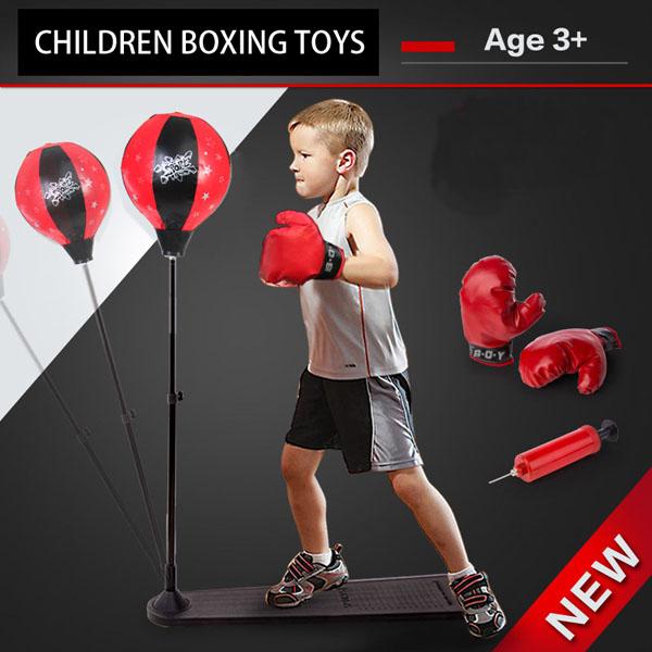 Bộ Đồ Chơi Boxing tăng cường vận động cho trẻ (Đỏ đen) ( kèm 1 đôi găng tay)