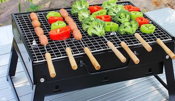 Bếp nướng than hoa vuông BBQ cao cấp dành cho gia đình