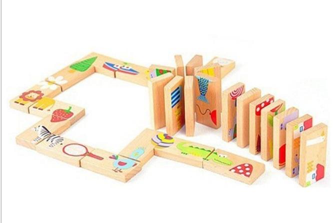 Bộ đồ chơi gỗ lắp ghép thông minh Domino 28 chi tiết