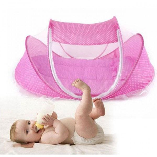 Mùng nôi di động chống muỗi có nhạc cho bé Happy Baby (Xanh/Hồng)