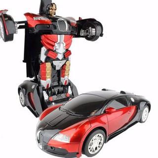 Đồ chơi xe ô tô biến hình Robot Mecha Ares có đèn và nhạc cho bé