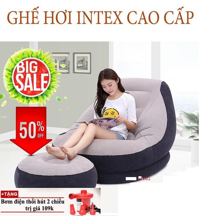 Ghế hơi tựa lưng Intex cao cấp tặng kèm bơm điện 2 chiều